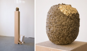 Hundefutter, 2012_ Chipboard, MDF, Filler, Plaster, Concrete, Gold Leaves / H.136 W.34 D.37