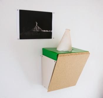Topographie einer ordentlichen Sitzung, 2012_ Plaster board, Crystacal, Chipboard, Acrylic, b/w print / H.84 W.54 D.35